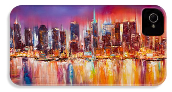 Vibrant New York City Skyline IPhone 4 Case by Manit