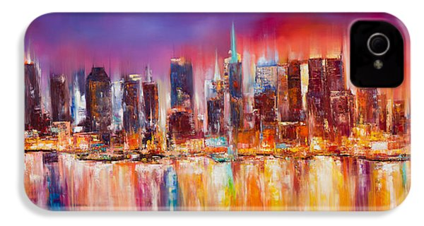 Vibrant New York City Skyline IPhone 4 Case by Manit