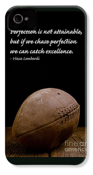 Vince Lombardi On Perfection IPhone 4 Case by Edward Fielding