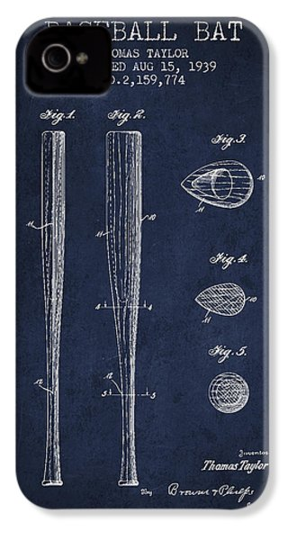 Vintage Baseball Bat Patent From 1939 IPhone 4 / 4s Case by Aged Pixel