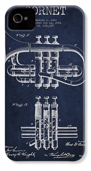 Cornet Patent Drawing From 1901 - Blue IPhone 4 / 4s Case by Aged Pixel