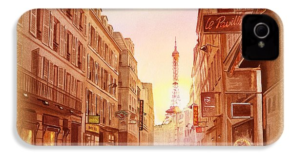 IPhone 4 Case featuring the painting Vintage Paris Street Eiffel Tower View by Irina Sztukowski