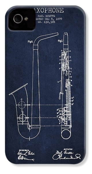 Saxophone Patent Drawing From 1899 - Blue IPhone 4 / 4s Case by Aged Pixel