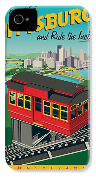 Vintage Style Pittsburgh Incline Travel Poster IPhone 4 Case