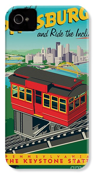 Vintage Style Pittsburgh Incline Travel Poster IPhone 4 Case by Jim Zahniser
