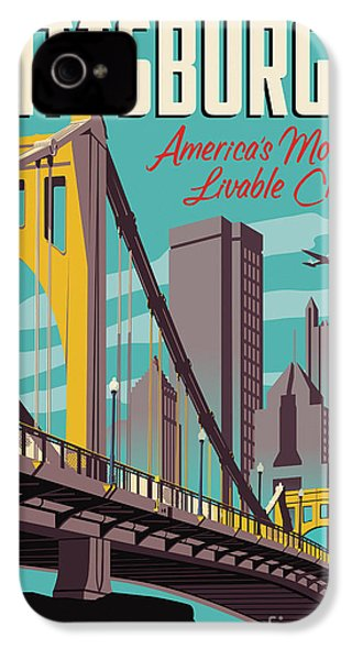 Vintage Style Pittsburgh Travel Poster IPhone 4 Case by Jim Zahniser