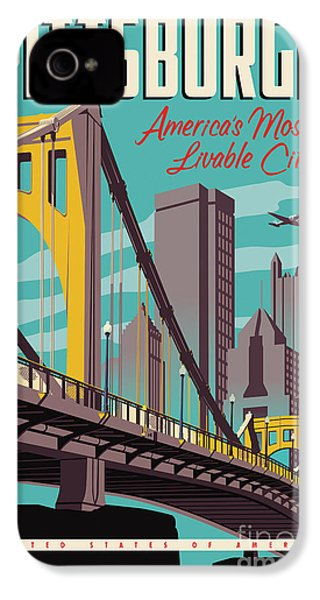 Vintage Style Pittsburgh Travel Poster IPhone 4 / 4s Case by Jim Zahniser