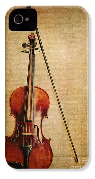 Violin With Bow IPhone 4 Case by Emily Kay