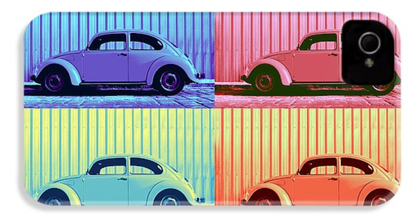 Vw Beetle Pop Art Quad IPhone 4 Case by Laura Fasulo