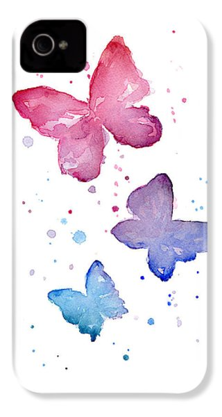 Watercolor Butterflies IPhone 4 Case by Olga Shvartsur