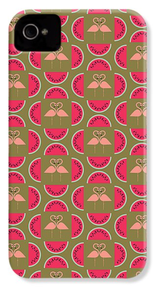 Watermelon Flamingo Print IPhone 4 Case by Susan Claire