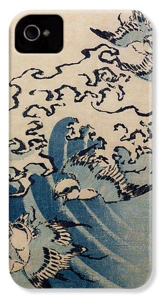 Waves And Birds IPhone 4 Case by Katsushika Hokusai