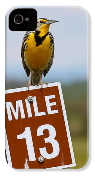 Western Meadowlark On The Mile 13 Sign IPhone 4 Case by Karon Melillo DeVega