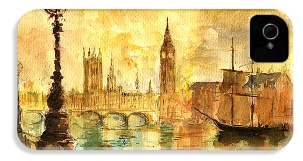 Westminster Palace London Thames IPhone 4 / 4s Case by Juan  Bosco