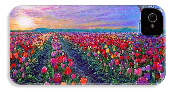 Tulip Fields, What Dreams May Come IPhone 4 Case by Jane Small