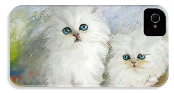 White Persian Kittens  IPhone 4 Case