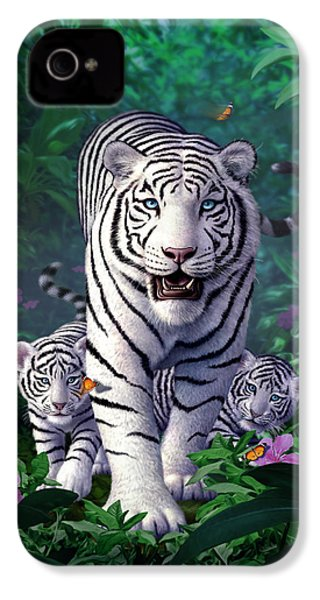 White Tigers IPhone 4 Case by Jerry LoFaro