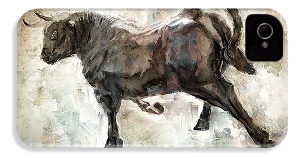 Wild Raging Bull IPhone 4 Case by Daniel Hagerman