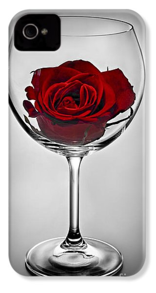 Wine Glass With Rose IPhone 4 Case by Elena Elisseeva