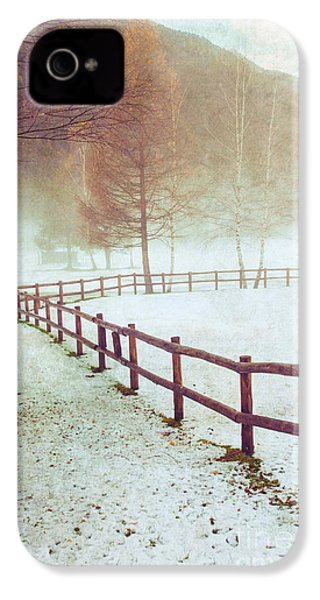Winter Tree With Fence IPhone 4 Case by Silvia Ganora