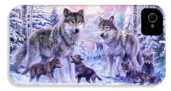 Winter Wolf Family  IPhone 4 Case by Jan Patrik Krasny