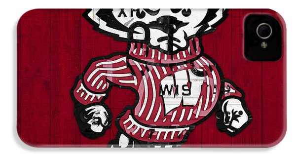 Wisconsin Badgers College Sports Team Retro Vintage Recycled License Plate Art IPhone 4 Case by Design Turnpike