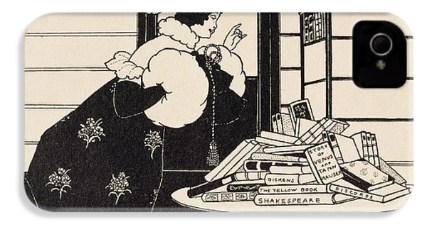 Woman In A Bookshop IPhone 4 Case by Aubrey Beardsley