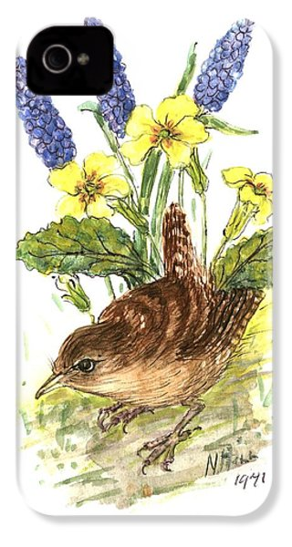 Wren In Primroses  IPhone 4 / 4s Case by Nell Hill