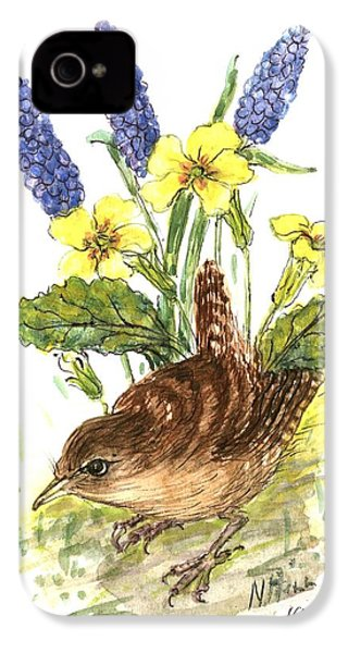 Wren In Primroses  IPhone 4 Case by Nell Hill