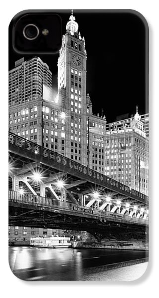 Wrigley Building At Night In Black And White IPhone 4 / 4s Case by Sebastian Musial