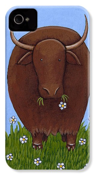 Whimsical Yak Painting IPhone 4 Case by Christy Beckwith