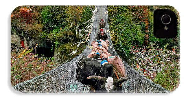 Yaks On Rope Bridge IPhone 4 Case by Babak Tafreshi