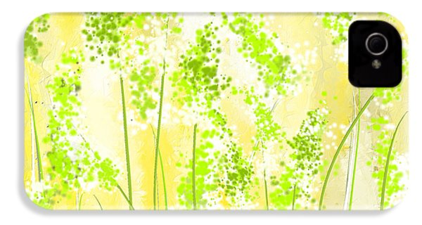 Yellow And Green Art IPhone 4 Case by Lourry Legarde