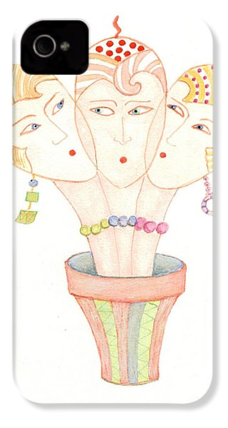 Flower Pot Ladies IPhone 4 Case by Nareeta Martin