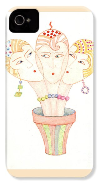 IPhone 4 Case featuring the painting Flower Pot Ladies by Nareeta Martin