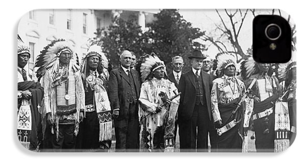 Coolidge With Native Americans IPhone 4 / 4s Case by Photo Researchers
