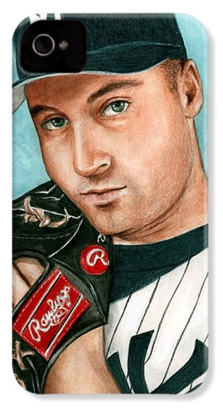 Derek Jeter  IPhone 4 Case by Bruce Lennon