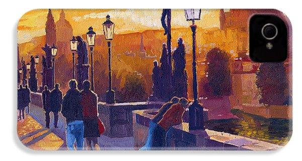 Golden Prague Charles Bridge Sunset IPhone 4 Case