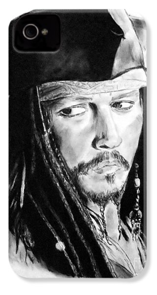 Johnny Depp As Captain Jack Sparrow In Pirates Of The Caribbean IPhone 4 / 4s Case by Jim Fitzpatrick