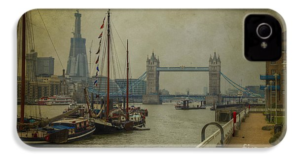 IPhone 4 Case featuring the photograph Moored Thames Barges. by Clare Bambers