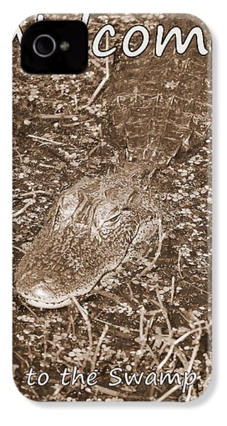 Welcome To The Swamp - Sepia IPhone 4 Case by Carol Groenen