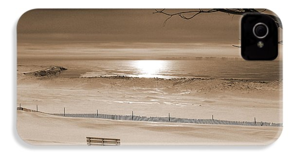 Winter Beach Morning Sepia IPhone 4 Case by Bill Pevlor