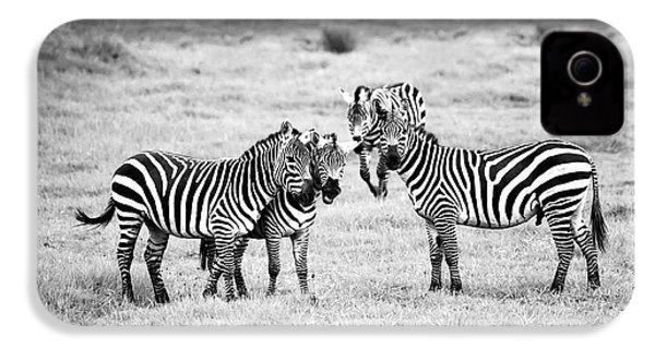 Zebras In Black And White IPhone 4 Case by Sebastian Musial