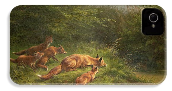 Foxes Waiting For The Prey   IPhone 4 / 4s Case by Carl Friedrich Deiker
