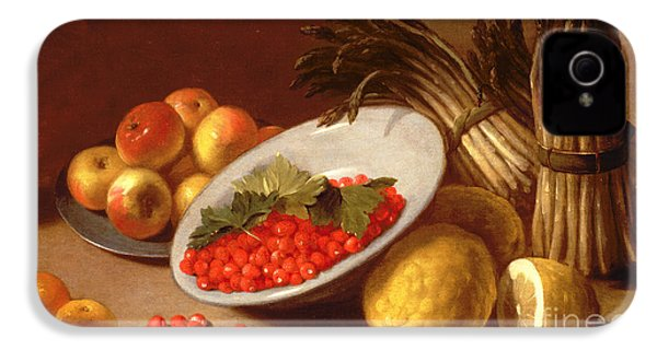 Still Life Of Raspberries Lemons And Asparagus  IPhone 4 / 4s Case by Italian School