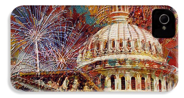 070 United States Capitol Building - Us Independence Day Celebration Fireworks IPhone 4 Case by Maryam Mughal