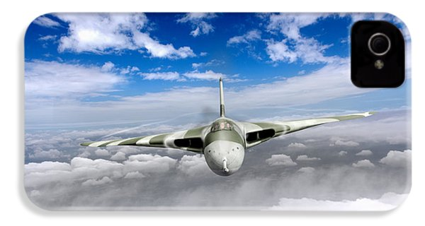 IPhone 4 Case featuring the digital art Avro Vulcan Head On Above Clouds by Gary Eason