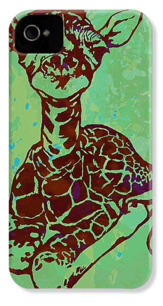 Baby Giraffe - Pop Modern Etching Art Poster IPhone 4 Case by Kim Wang