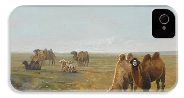 Camels Along The River IPhone 4 Case by Chen Baoyi