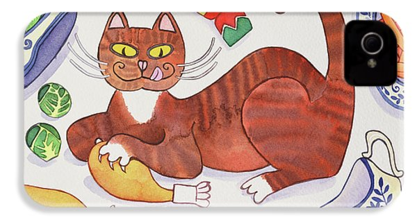 Christmas Cat And The Turkey IPhone 4 / 4s Case by Cathy Baxter